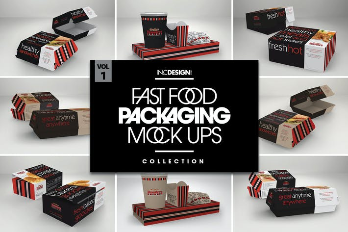 Thumbnail for Fast Food Boxes Vol.1: Take Out Packaging MockUps