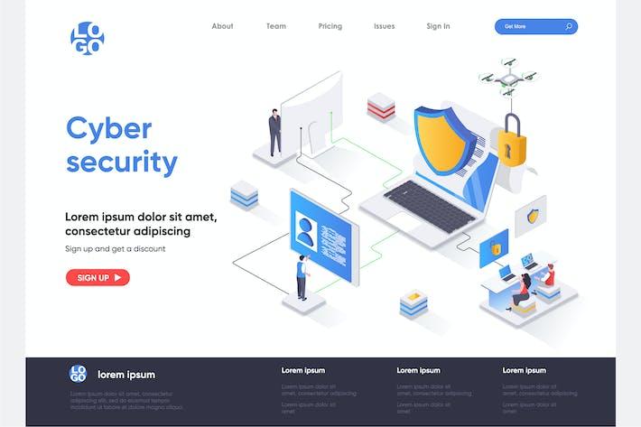 Thumbnail for Vorlage für isometrische Zielseiten für Cyber-Sicherheit