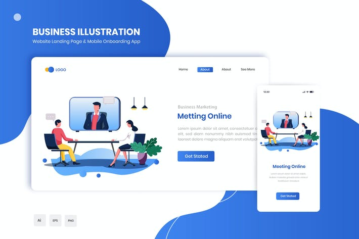 Thumbnail for Meeting Online Flat Landing & Onboarding App