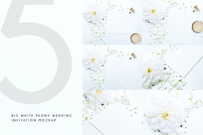 Thumbnail for Big White Peony Wedding Invitation Mockup