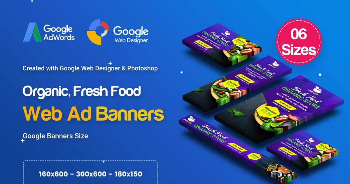 Download C48 - Organic, Fresh Food Banners GWD & PSD by iDoodle