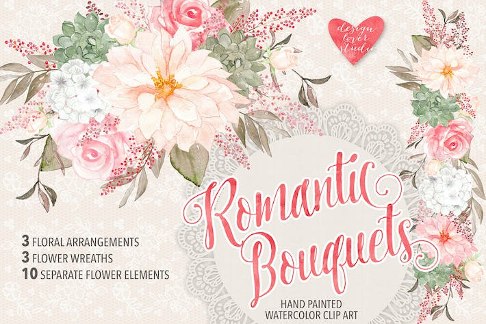 "Thumbnail for Watercolor ""Romantic Bouquets"" design"