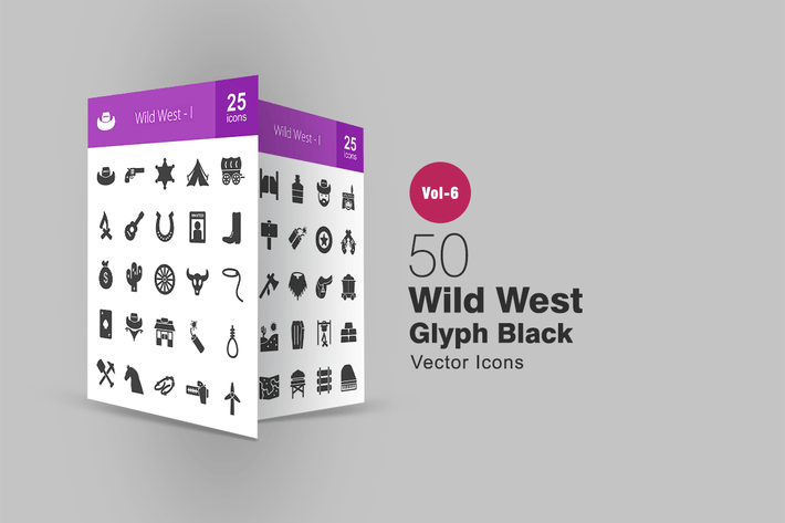 Thumbnail for 50 Wild West Glyph Icons