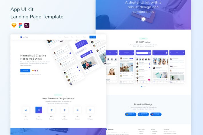 Cover Image For App UI Kit Landing Page Template