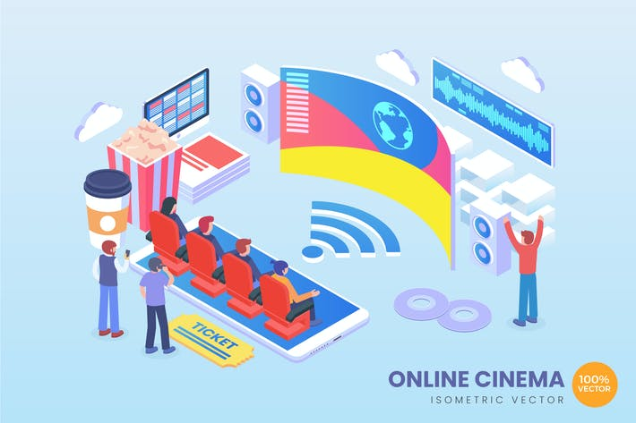 Thumbnail for Isometric Online Cinema Vector Concept