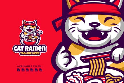 Cat Ramen Cartoon Logo