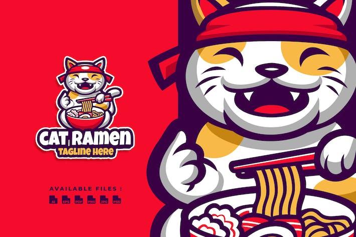 Thumbnail for Cat Ramen Cartoon Logo