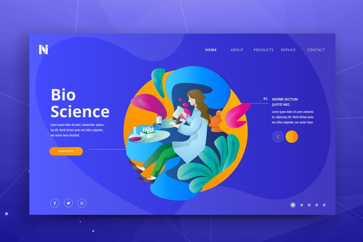 Thumbnail for Bio Science Web PSD and AI Vector Template