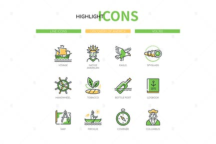Discovery of America - Line Design Style Icons Set