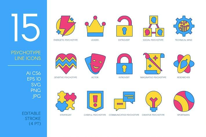 Persönlichkeit Psycho Typ Icons Set