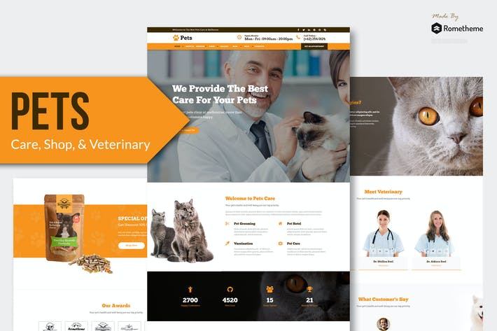 Cover Image For PETS - Pet Care, Shop, and Veterinary Muse Templat