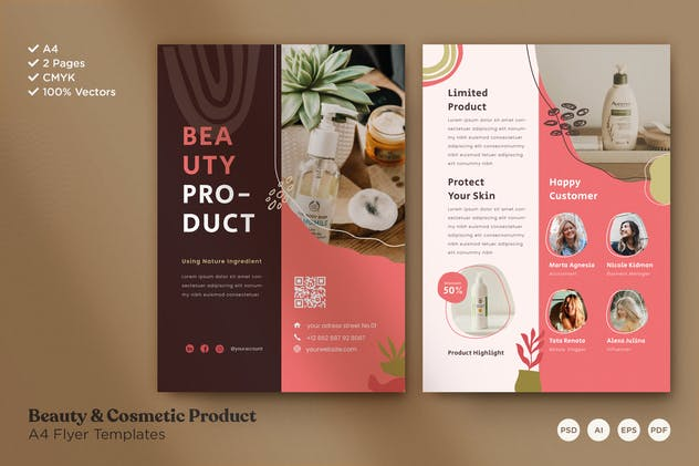 A4 Flyer Template Vol.03 Beauty & Cosmetic Product