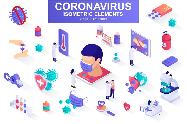 Coronavirus Isometric Design Elements