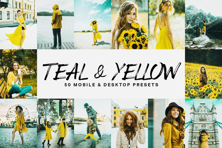 Cover Image For 50 Teal & Yellow Lightroom Presets and LUTs
