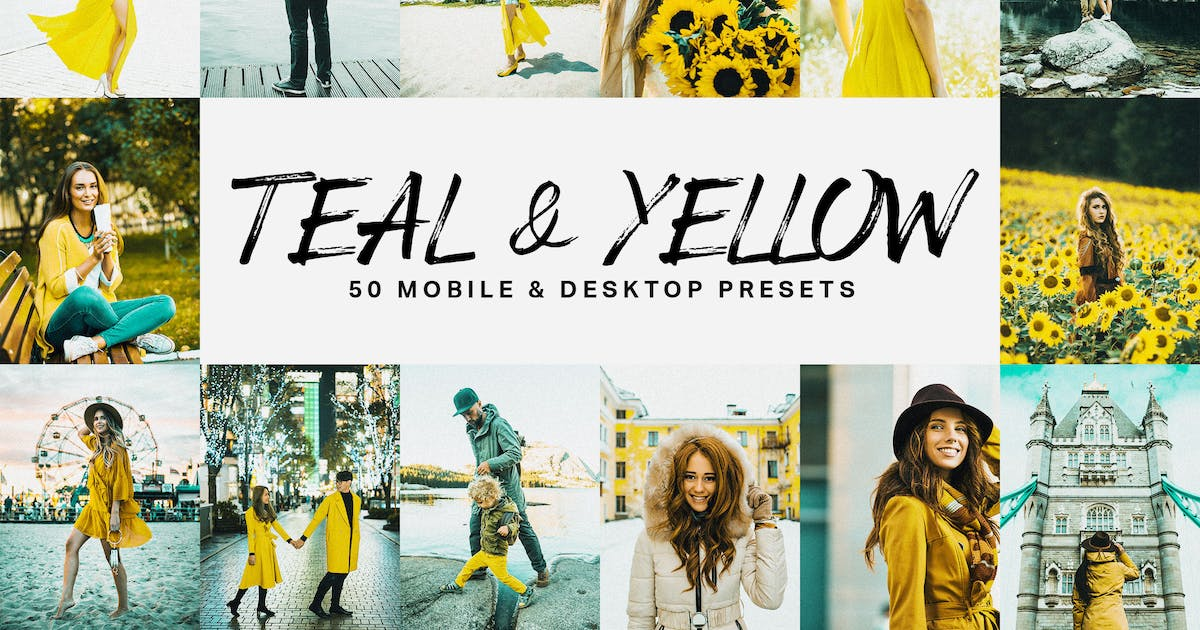 Download 50 Teal & Yellow Lightroom Presets and LUTs by sparklestock
