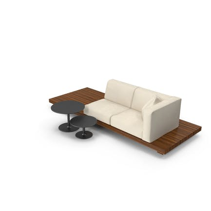 2 Seater Outdoor Teak Platform Lounge Setting with Tables