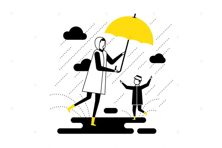 Thumbnail for Rainy day - flat design style vector illustration