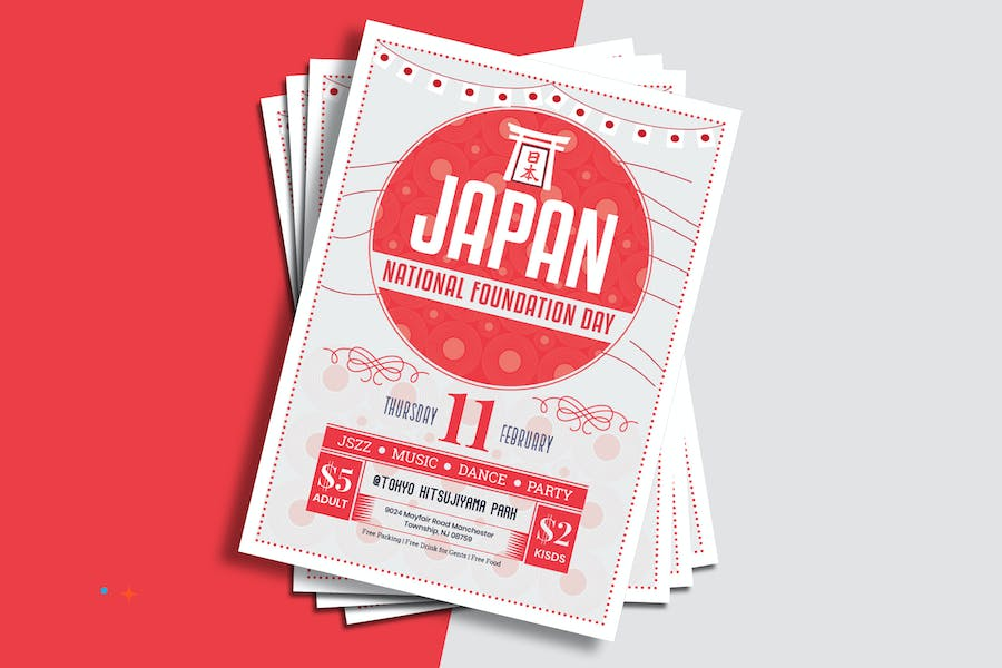 Japan National Foundation Day Flyer Template