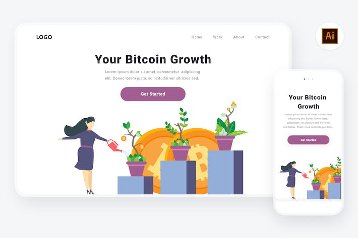 Thumbnail for Bitcoin growth illustration (Illustrator & SVG)