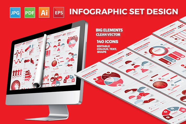 Thumbnail for Red Business Infographics Design