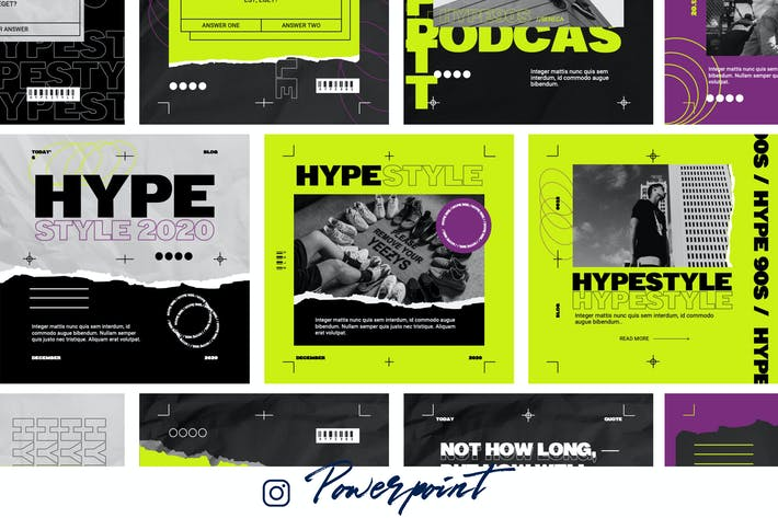 Hype 90s - Powerpoint Instagram Template