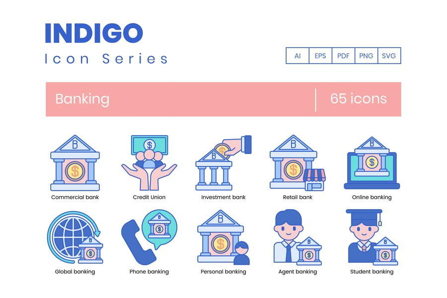 65 Banking-Icons - Indigo-Serie