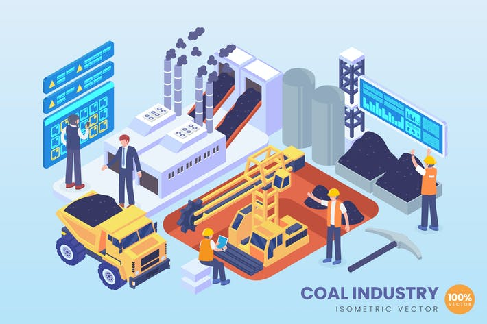 Thumbnail for Isometric Coal Industry Vector Concept