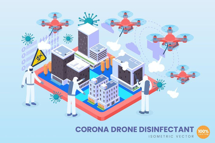 Thumbnail for Isometric Corona Drone Disinfectant Vector Concept