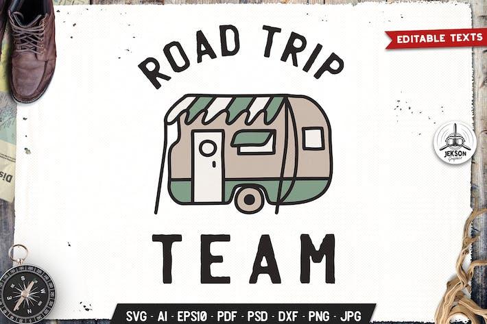 Thumbnail for Road Trip Team Camp Retro Graphic Logo, Hiking SVG