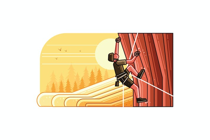 Thumbnail for Rock Climber Vector Graphics Line Illustration