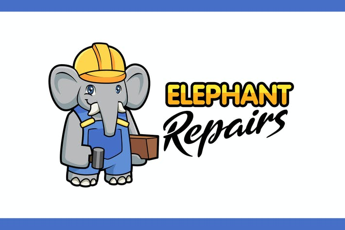Thumbnail for Cartoon Konstruktion Elefant Maskottchen Logo