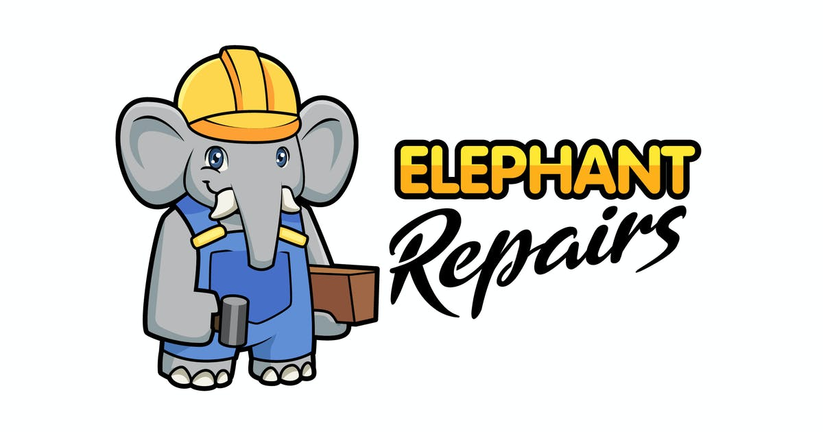 Download Cartoon Construction Elephant Mascot Logo by Suhandi
