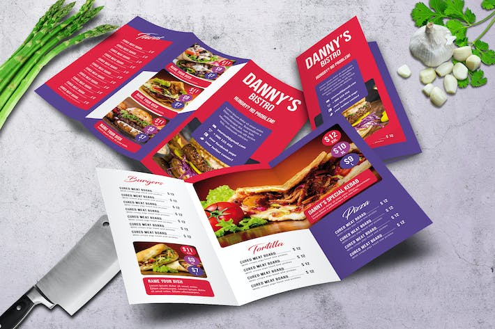Thumbnail for Danny's Bistro Trifold Food Menu A4 & US Letter