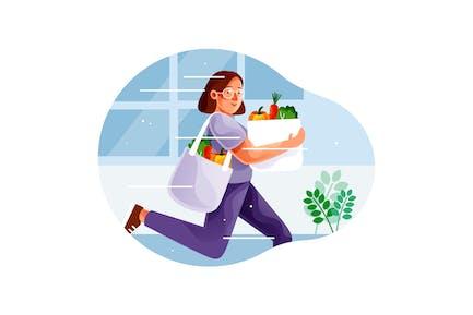 Woman rush shopping healthy vegetables
