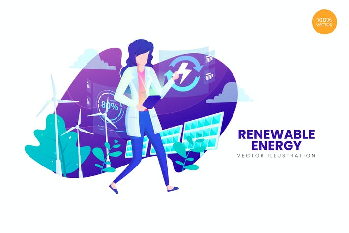 Thumbnail for Renewable Energy Vector Illustration Concept