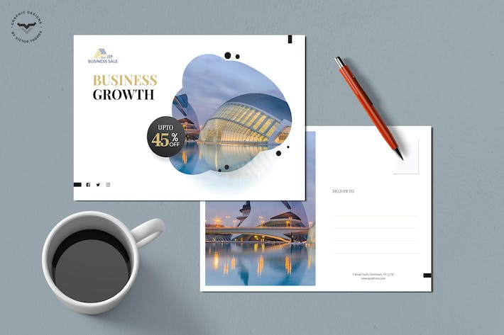 Thumbnail for Business Post Card Template