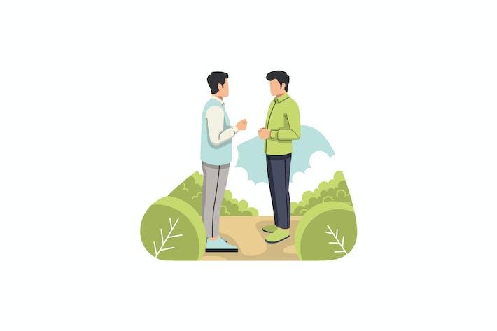 Thumbnail for Two men chatting illustration