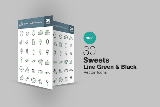 30 Sweets & Confectionery Line Green & Black Icons