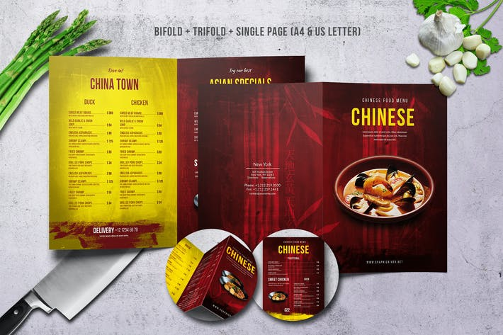 Thumbnail for Chinese A4 & US Letter Food Menu Bundle