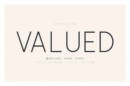 Valuado - Una familia Deluxu Sans Con serifa