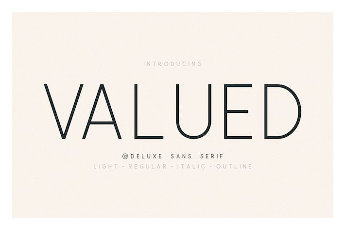 Thumbnail for Valued - A Deluxu Sans Serif Family