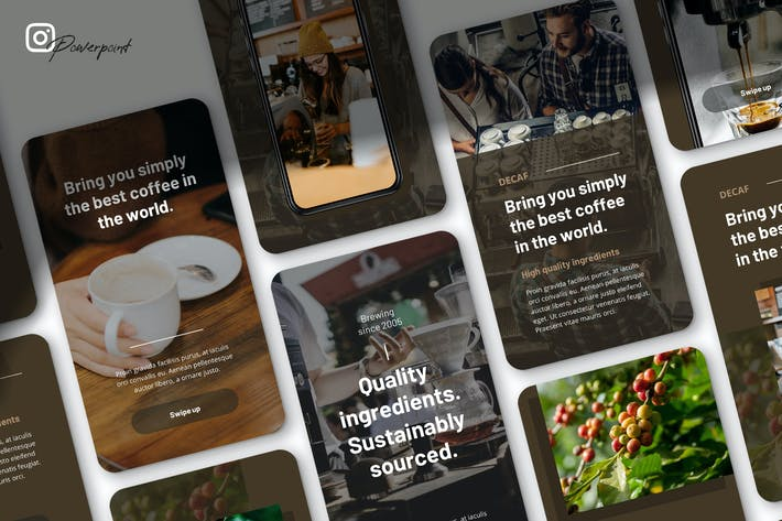Thumbnail for без кофеина - Кофейный бизнес Instagram Powerpoint