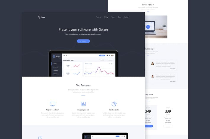 Thumbnail for Sware - SaaS & Software Landing PSD Template