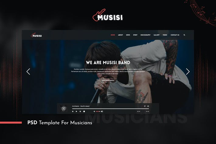 Thumbnail for Musicians PSD Template - Musisi