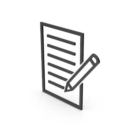 Symbol Document With Pen Black
