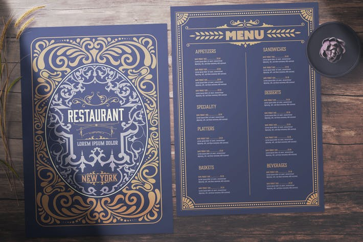 Vintage Restaurant Menu Layout