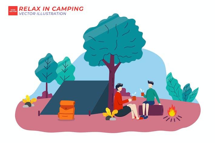 Entspannen Sie sich auf dem flachen Camping