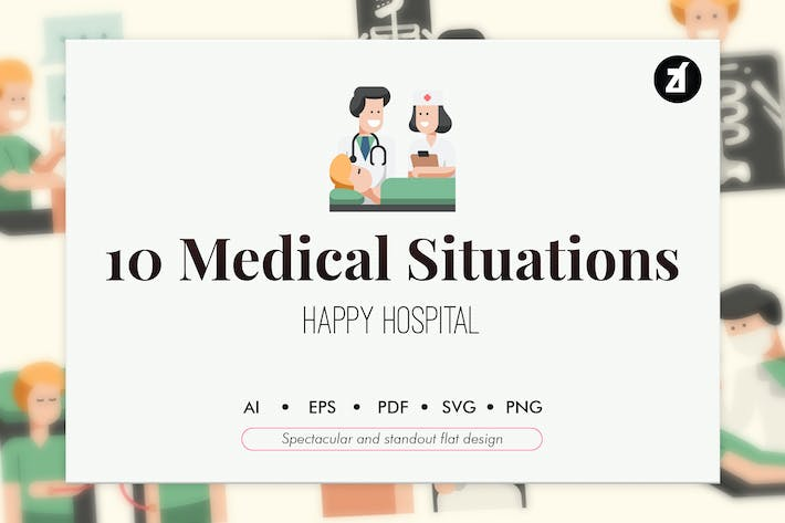 Thumbnail for 10 Medical Situations elements in flat design
