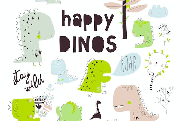 Cute vector dinosaurs isolated on white background