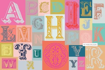 Ornamentos Antiguos Alfabeto Fuente